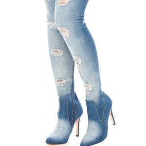 Shoes - Denim Thigh High Boots